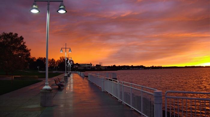 berth, cities, sunset, evening