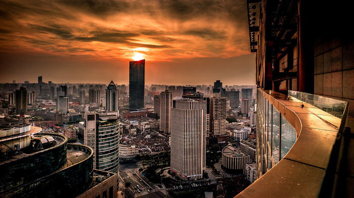 China, panorama, sunset, cities
