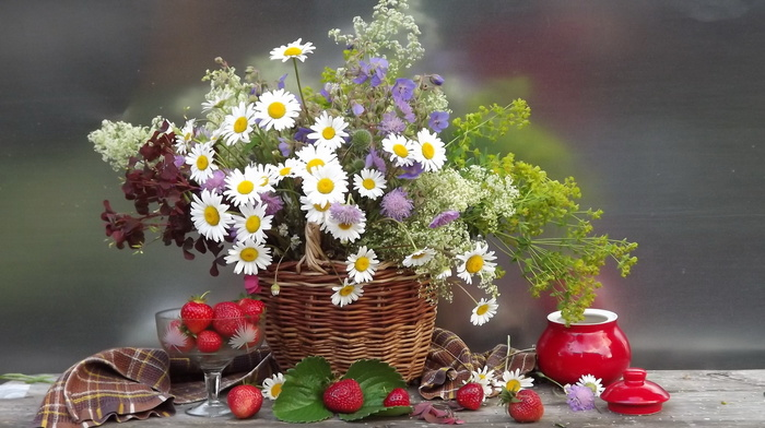 bouquet, flowers, flower, basket, chamomile