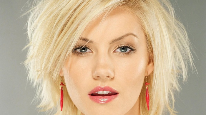 Elisha Cuthbert, open mouth, portrait, earrings, blue eyes, blonde, face, short hair, girl