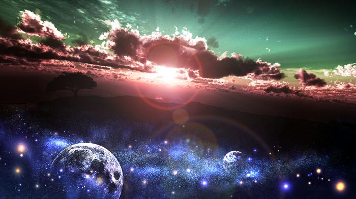planets, Earth, art, Sun, space, sunset, tree, stars