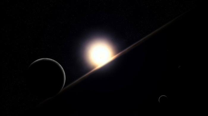 planets, horizon, stars, space, dawn, sunset, surface