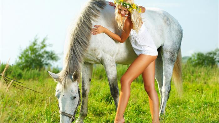 grass, horse, girls, beauty, sky, joy