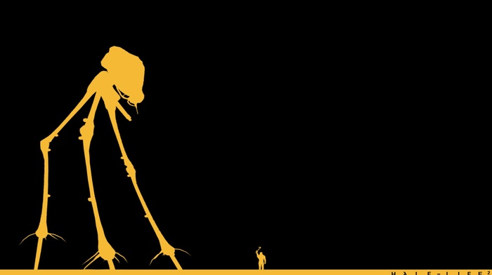 Valve Corporation, Gordon Freeman, Half, Life, aliens, crowbar, minimalism, video games, simple, Life 2, robot, Valve, black background