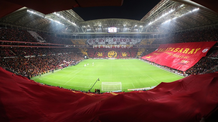 fans, Galatasaray S.K., Turk Telekom Arena, soccer, yellow, soccer pitches, red