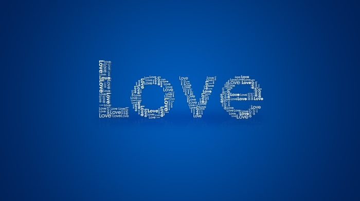 love, blue background, simple background, typography
