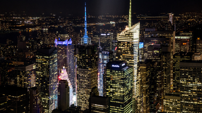 skyscrapers, New York City, city, cities, night, USA