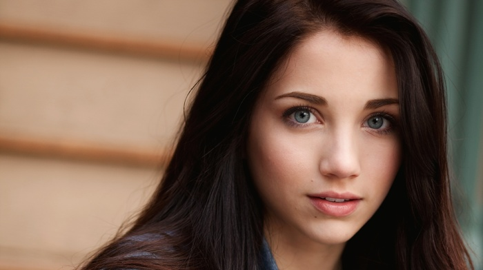 long hair, smiling, portrait, model, looking at viewer, face, emily rudd, denim, girl, actress, blue eyes, brunette
