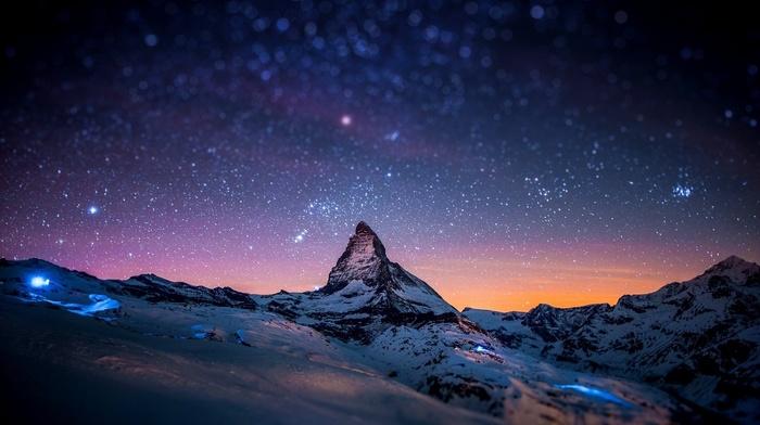 landscape, stars, starry night, rock, Zermatt, space, Switzerland, night, tilt shift, winter, mountain, bokeh, Matterhorn, snow