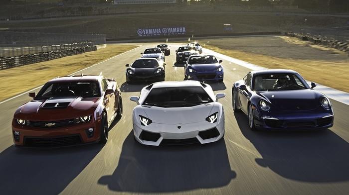 камаро, машина, гоночные машины, суперкары, Lamborghini Aventador