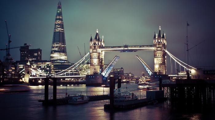London Bridge, Tower Bridge, night, cityscape, England, city, London