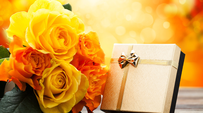 gift, flowers, holiday, roses, bouquet