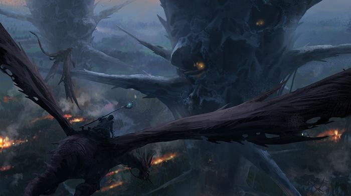 art, dragon, fantasy, fly, city, height