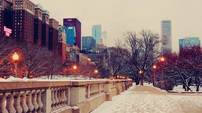 evening, snow, street, Chicago, skyscrapers, winter