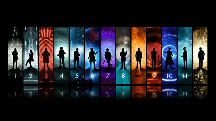 John Hurt, Christopher Eccleston, Matt Smith, Peter Capaldi, Doctor Who, David Tennant, tardis, panels, silhouette, The Doctor, Tom Baker