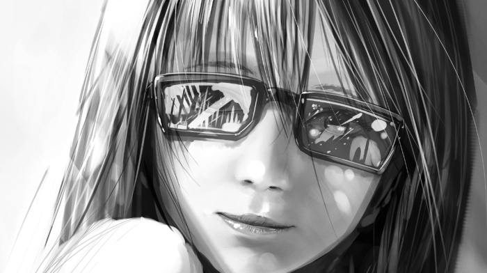 sight, anime, smiling, glasses, black and white, girl