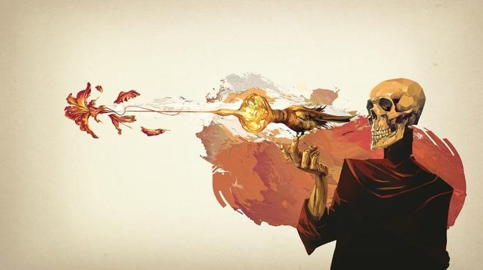 смерть, произведение искусства, птицы, скелет, концептуальное искусство, фантастическое исскуство
