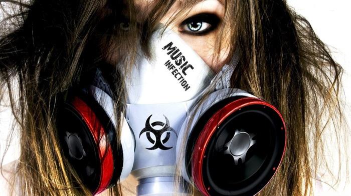 gas masks, photography, artwork, girl, music, biohazard, infection
