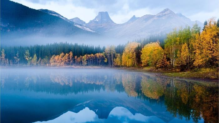 горы, природа, деревья, озеро, туман