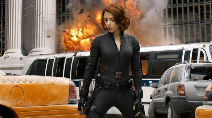 Scarlett Johansson, Black Widow, explosion, The Avengers, movies, superheroines