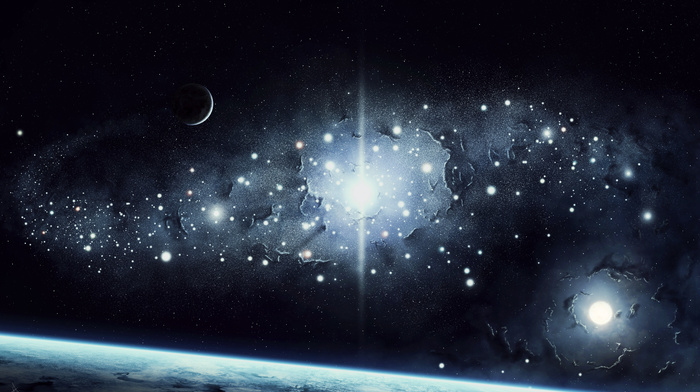 space, stars, light, Earth, planets, surface