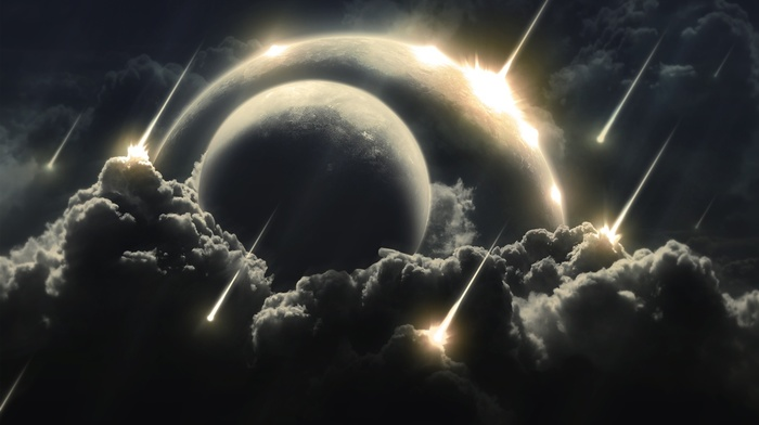 3D, clouds, planets
