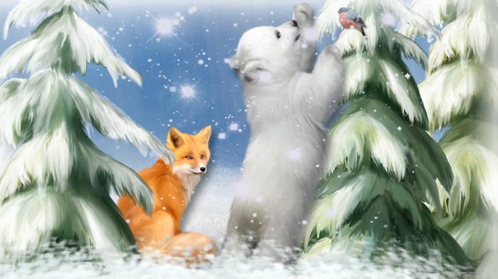 snowflakes, Christmas tree, snow, painting, fox, art, stunner, game, painting