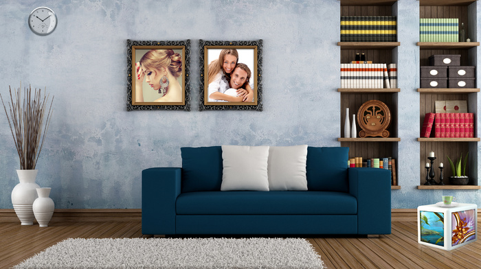 clocks, room, vase, couch