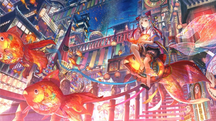anime girls, fantasy art, steampunk, sky, fish, original characters, Asian architecture, oriental, China, anime, night