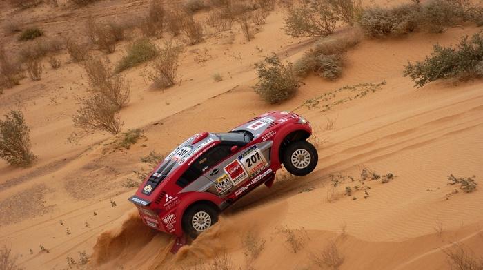 race, sports, auto, sand, cars, car, Mitsubishi