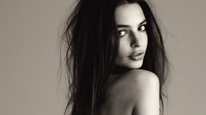 simple background, brunette, Emily Ratajkowski, bare shoulders, long hair, girl, open mouth, looking at viewer, eyes, model