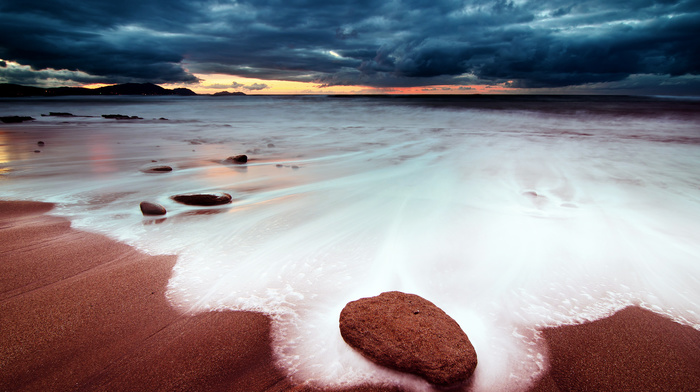 пена, песок, небо, закат, камень, пляж, природа, море, тучи