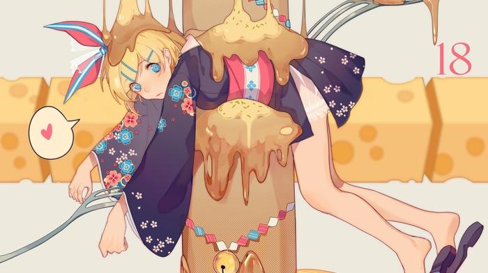 Вокалоид, блондинка, девушки из аниме, аниме, украшение для волос, Kagamine Rin, голубые глаза
