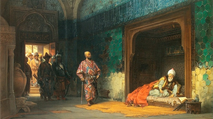 traditional clothing, prisons, Islamic architecture, classic art, painting, warrior, royal, history