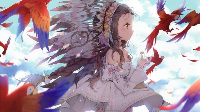 животные, аниме, оригинальные персонажи, девушки из аниме, брюнетка, птицы, перья, фантастическое исскуство