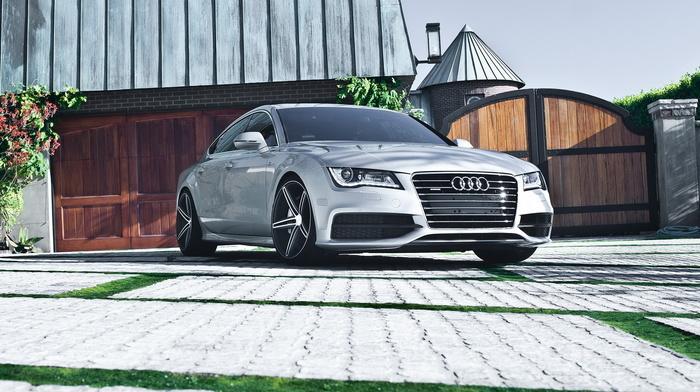 Audi, garage, house, cars