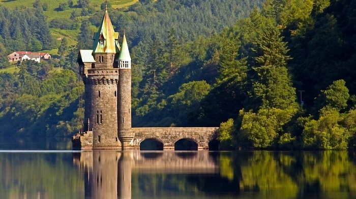 stunner, England, tower, forest, castle, lake