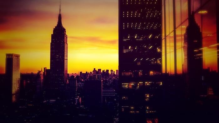 Sun, sunset, skyscrapers, cities, city