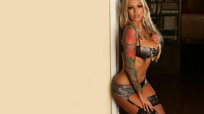 model, tattoo, girls, thigh-highs, figure, boobs, linen, hip