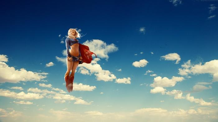 flying, Supergirl, superheroines, blonde, anime, clouds, Superwoman, DC Comics