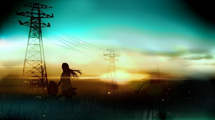 bicycle, fantasy art, silhouette, sunset, anime, utility pole, artwork, power lines, anime girls