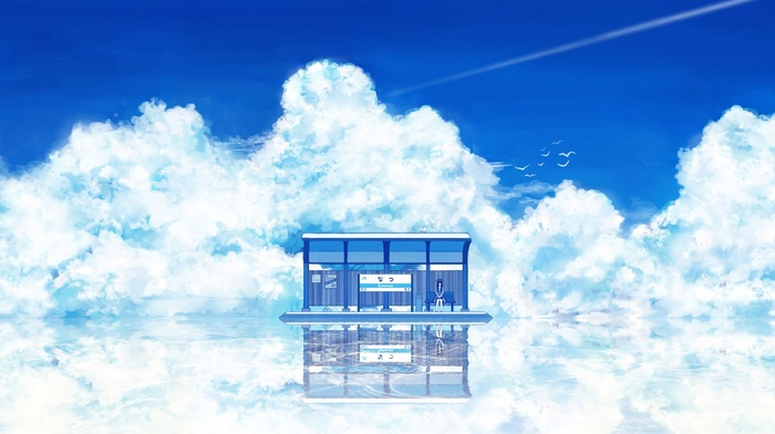 artwork, fantasy art, clouds, sky, anime