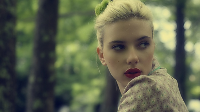 looking away, actress, girl, celebrity, red lipstick, Scarlett Johansson, blonde