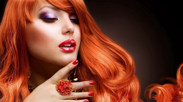 face, girls, beauty, lips, decorations, red hair, sight
