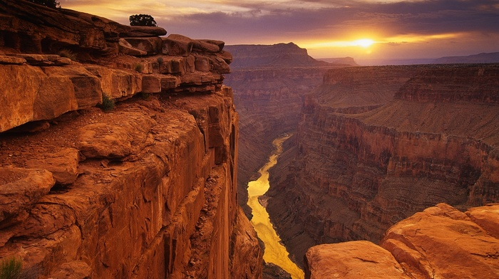 height, stone, landscape, view, canyon, photo, nature, river, sunset