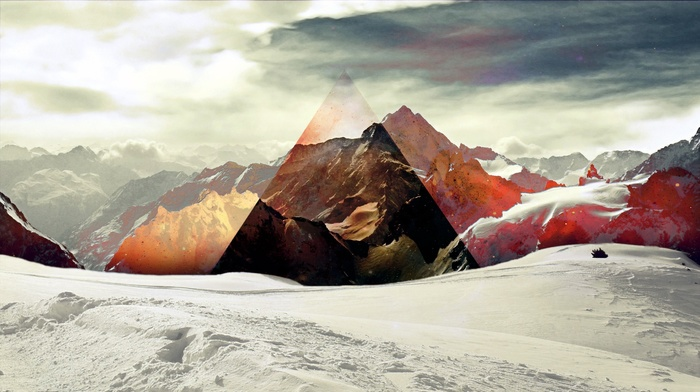 snow, polyscape, mountain, triangle, abstract