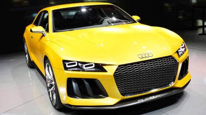 Audi, photo, yellow, cars, headlights, auto, sportcar