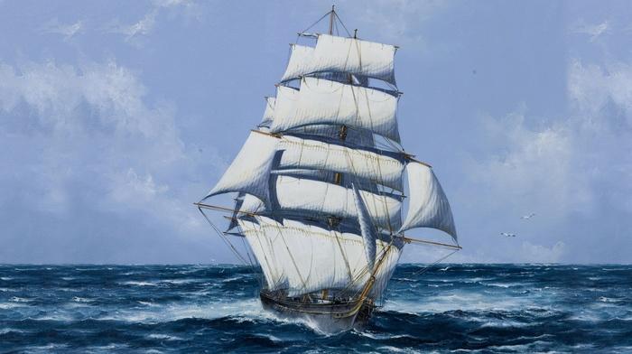 stunner, painting, sky, sailfish, ocean, ship