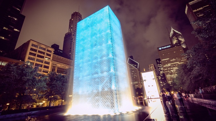 architecture, Chicago, night, fountain, glowing, building