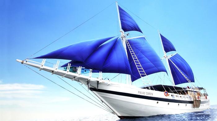 ocean, sky, wind, sailfish, ship, beauty, stunner